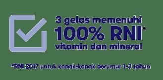 3 glasses meet 100% RNI of vitamins and minerals